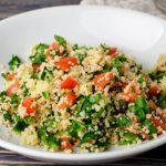 Couscous with Spinach, Onions and Tomatoes - Healthy Option as seen on The Jewish Kitchen website