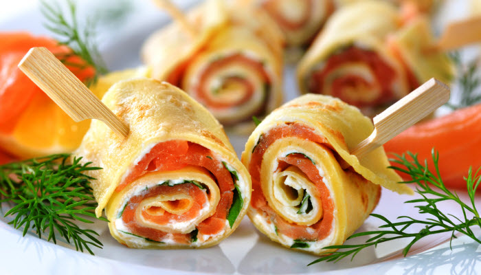 smoked salmon and cream cheese spirals from The Jewish Kitchen