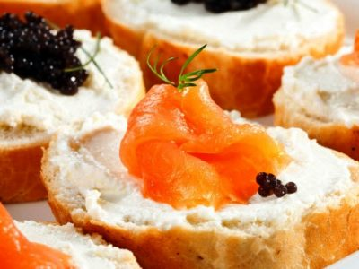 smoked salmon and caviar toasts from The Jewish Kitchen