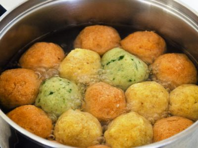 tri color matzoh balls from The Jewish Kitchen