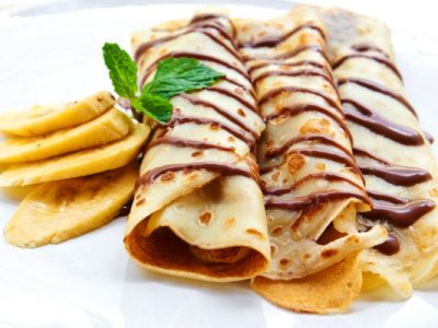 fresh banana crepes with dark chocolate healthy option from The Jewish Kitchen