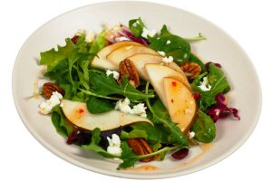 mesclun greens with pears dried cherries and candied walnuts from The Jewish Kitchen