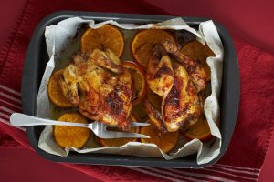 pomegranate glazed chicken from The Jewish Kitchen