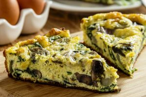 swiss spinach and mushroom quiche from The Jewish Kitchen